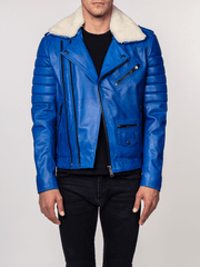Sculpt Australia mens leather jacket Jose Blue Fur Collared Leather Jacket