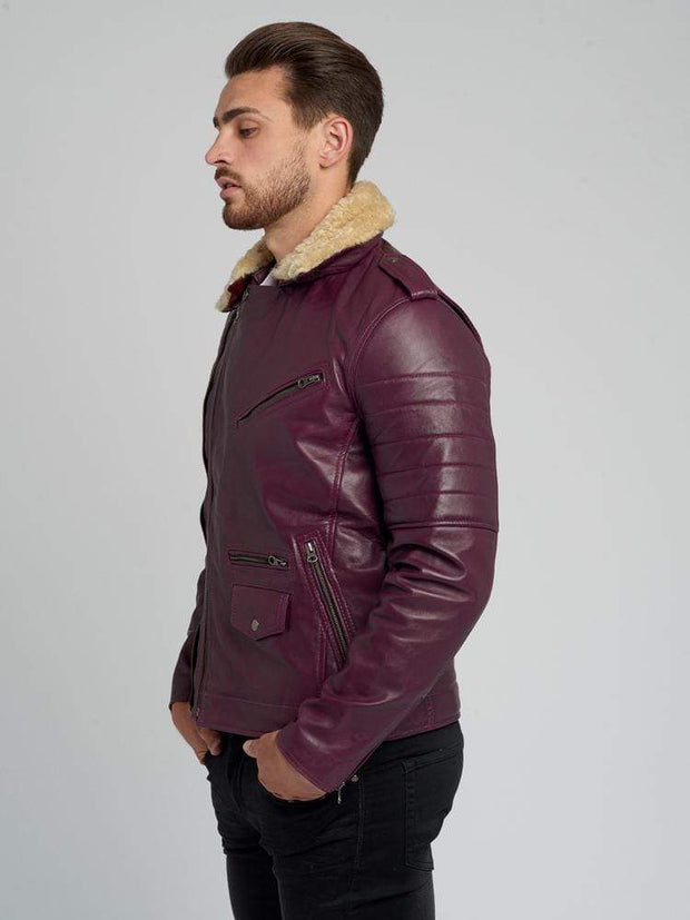 Sculpt Australia mens leather jacket Jose Brown Fur Collared Leather Jacket