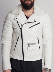 Sculpt Australia mens leather jacket Jose White Fur Collared Leather Jacket