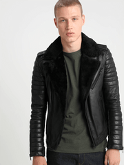 Sculpt Australia mens leather jacket Kai Black Shearling Leather Jacket