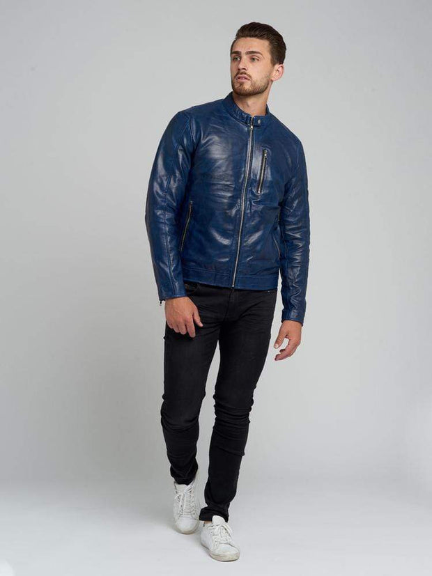 Sculpt Australia mens leather jacket Kelvin Blue Leather Jacket