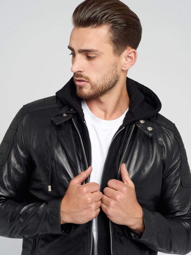 Sculpt Australia mens leather jacket Leather Motorcycle Hooded Jacket