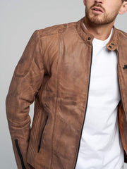 Sculpt Australia mens leather jacket Leo Brown Leather Jacket