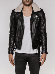 Sculpt Australia mens leather jacket Levi Detachable Collared Leather Jacket