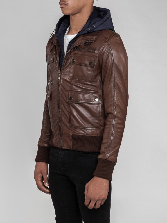 Sculpt Australia mens leather jacket Mateo Brown Hooded Leather Jacket