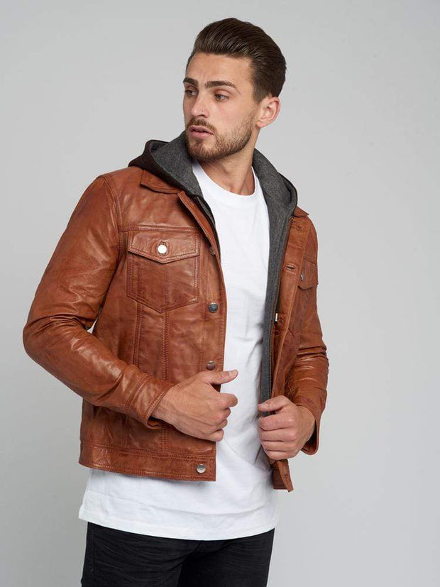 Sculpt Australia mens leather jacket Mathew Removable Hooded Leather Jacket