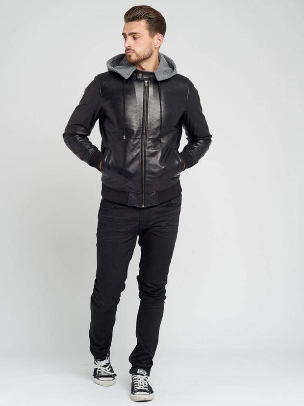 Sculpt Australia mens leather jacket Mike Detachable hood Leather Jacket