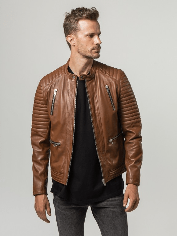 Sculpt Australia mens leather jacket Milo Cognac Leather Jaclet
