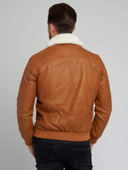 Sculpt Australia mens leather jacket Mitchell Fur Collared Leather Jacket