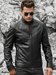 Sculpt Australia mens leather jacket Motorcycle Lambskin Leather Jacket