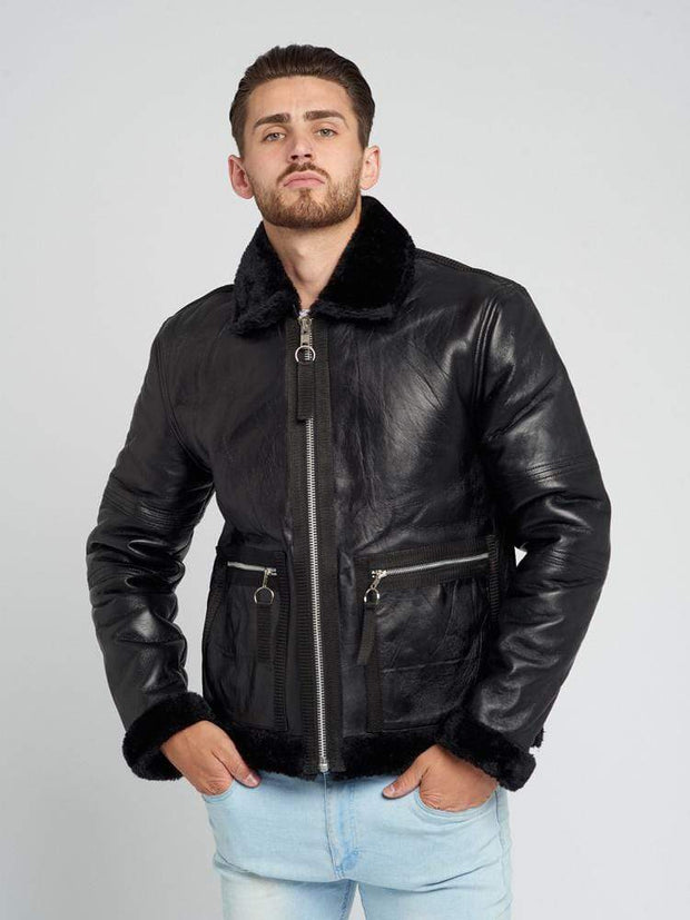 Sculpt Australia mens leather jacket Motorcycle Shearling Leather Jacket