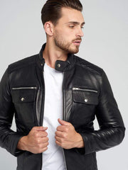 Sculpt Australia mens leather jacket Quilted Shoulder Leather Jacket