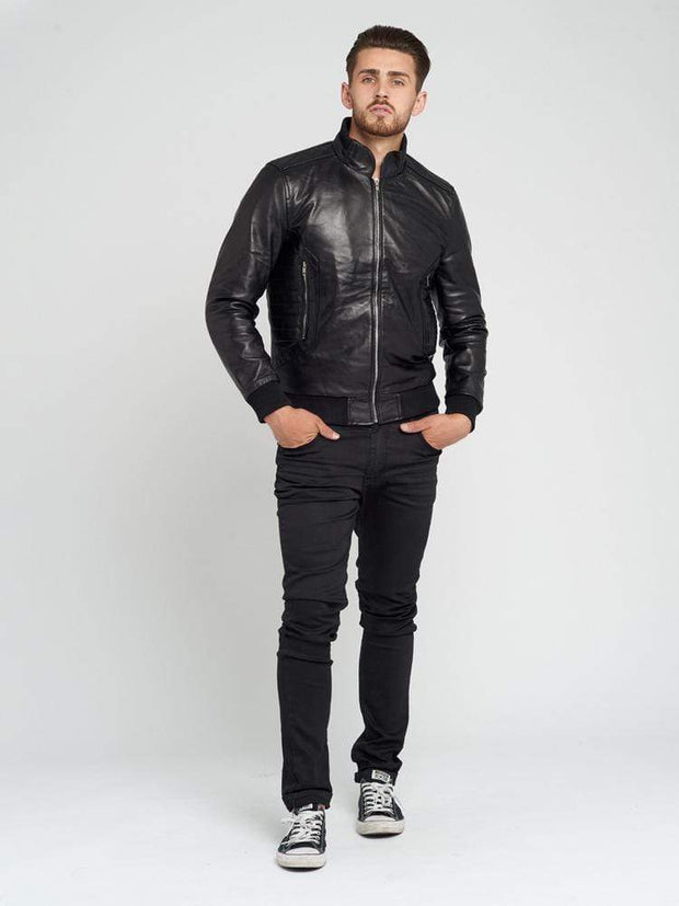 Sculpt Australia mens leather jacket Rib Cuff Motorcycle Leather Jacket