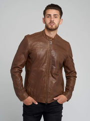 Sculpt Australia mens leather jacket S / Brown Bomber Leather Jacket
