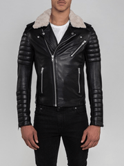 Sculpt Australia mens leather jacket Sawyer Fur Collared Leather Jacket