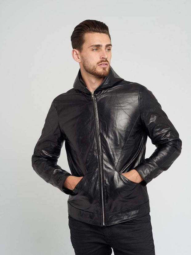 Sculpt Australia mens leather jacket Sculpt Hooded Leather Jacket