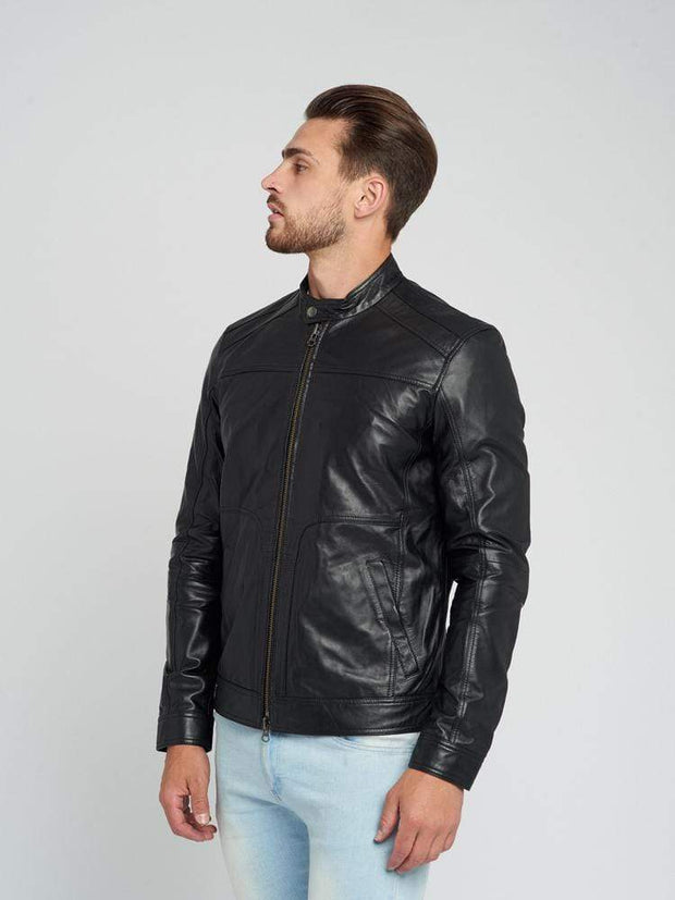 Sculpt Australia mens leather jacket Sculpt's Bomber Black Leather Jacket