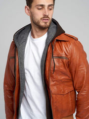 Sculpt Australia mens leather jacket Shumack Hooded Leather Jacket