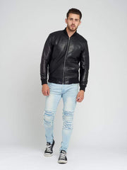 Sculpt Australia mens leather jacket Slim Fit Perforated Leather Jacket