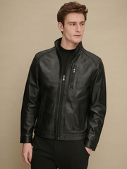 Sculpt Australia mens leather jacket Stand Collar Black Leather Jacket