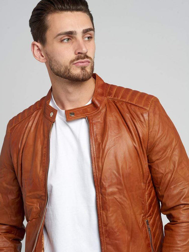 Sculpt Australia mens leather jacket Stand Out Tanned Casual Leather Jacket