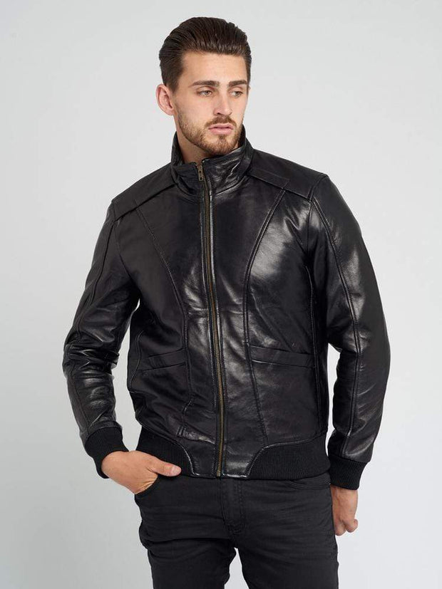 Sculpt Australia mens leather jacket Standing Collar Motorcycle Leather Jacket