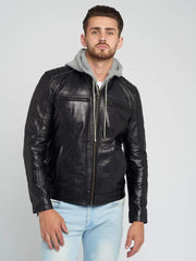 Sculpt Australia mens leather jacket Standout Black Hooded Leather Jacket