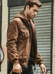 Sculpt Australia mens leather jacket Suede Hooded Moto Leather jacket