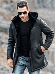 Sculpt Australia mens leather jacket Trench Shearling Hooded Leather Coat