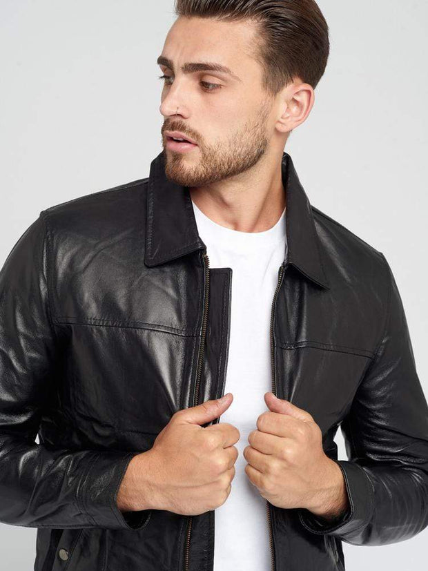 Sculpt Australia mens leather jacket Turn-down Collar Black Leather Jacket