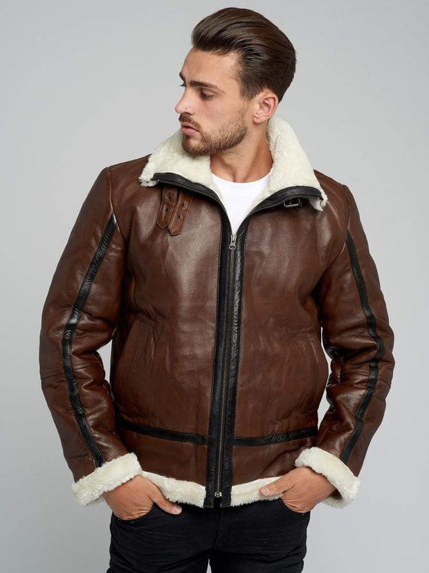 Sculpt Australia mens leather jacket Victor Brown Fur Leather Jacket