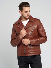 Sculpt Australia mens leather jacket Vintage Leather Brown Biker Jacket