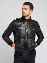 Sculpt Australia mens leather jacket Warm Pilot Black Leather Jacket