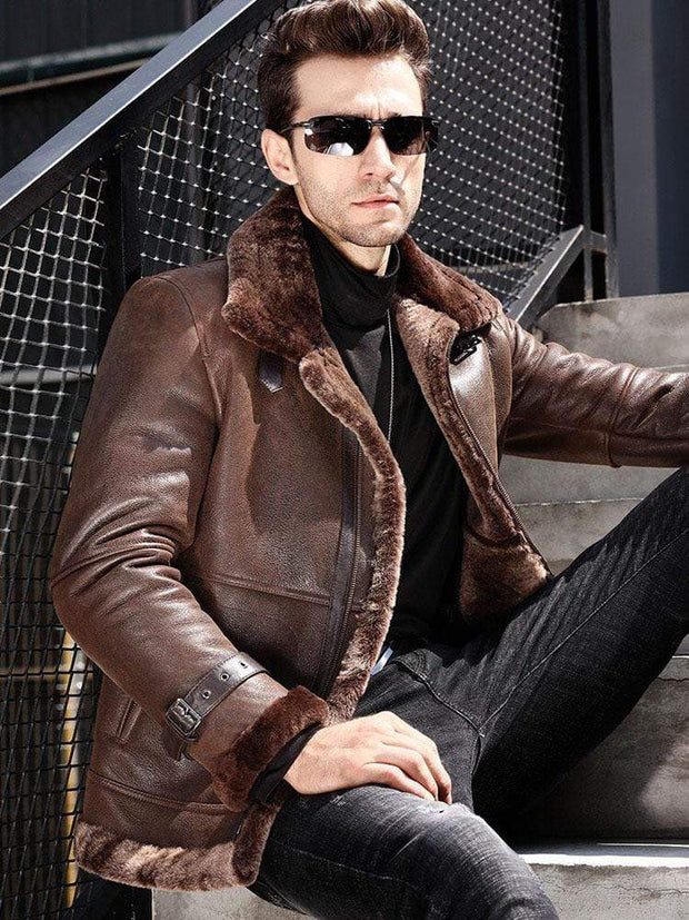 Sculpt Australia mens leather jacket Winter Brown Shearling Leather Jacket