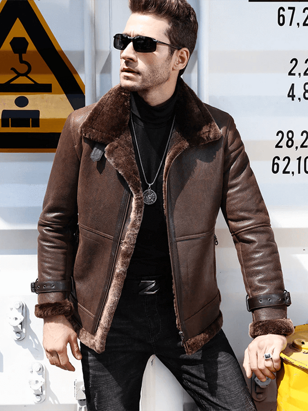 Sculpt Australia mens leather jacket Winter Fur Collar Shearling Leather Jacket