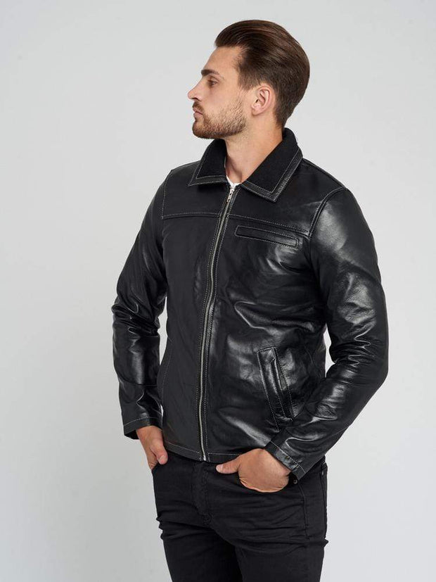 Sculpt Australia mens leather jacket Winter Warm Black Leather Jacket