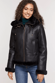 Sculpt Australia womens leather jacket Amy Black Shearling Leather Jacket