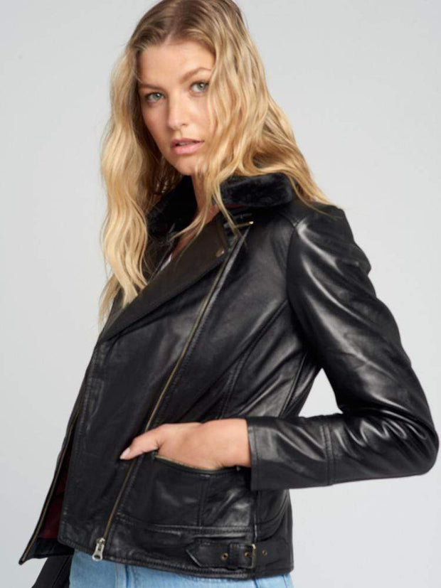 Sculpt Australia womens leather jacket Aviva Fur Collared Leather Jacket