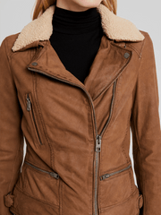 Sculpt Australia womens leather jacket Aviva Wool Collared Leather Jacket
