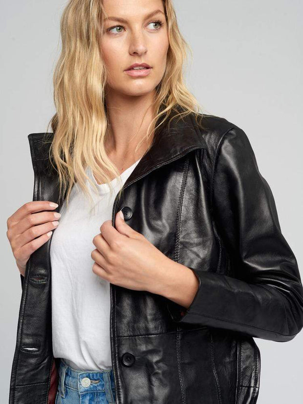 Sculpt Australia womens leather jacket Belted Black Leather Jacket