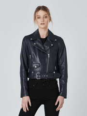 Sculpt Australia womens leather jacket Biker Leather Jacket In Black