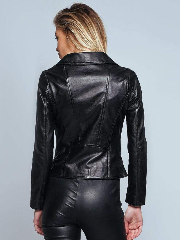Sculpt Australia womens leather jacket Biker Style Black Leather Jacket