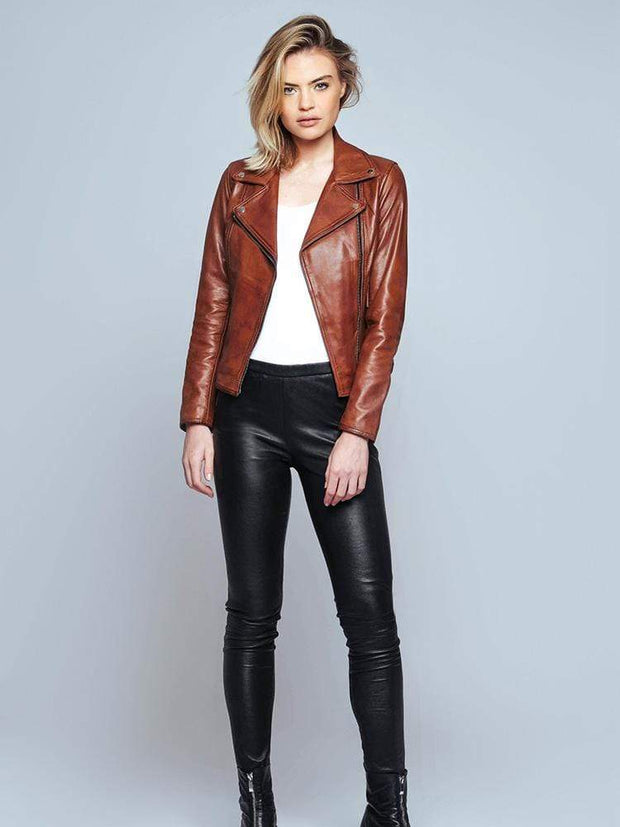 Sculpt Australia womens leather jacket Biker Style Brown Leather Jacket