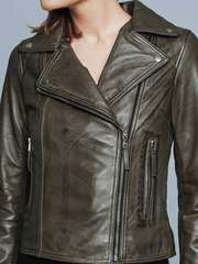 Sculpt Australia womens leather jacket Biker Style Olive Leather Jacket