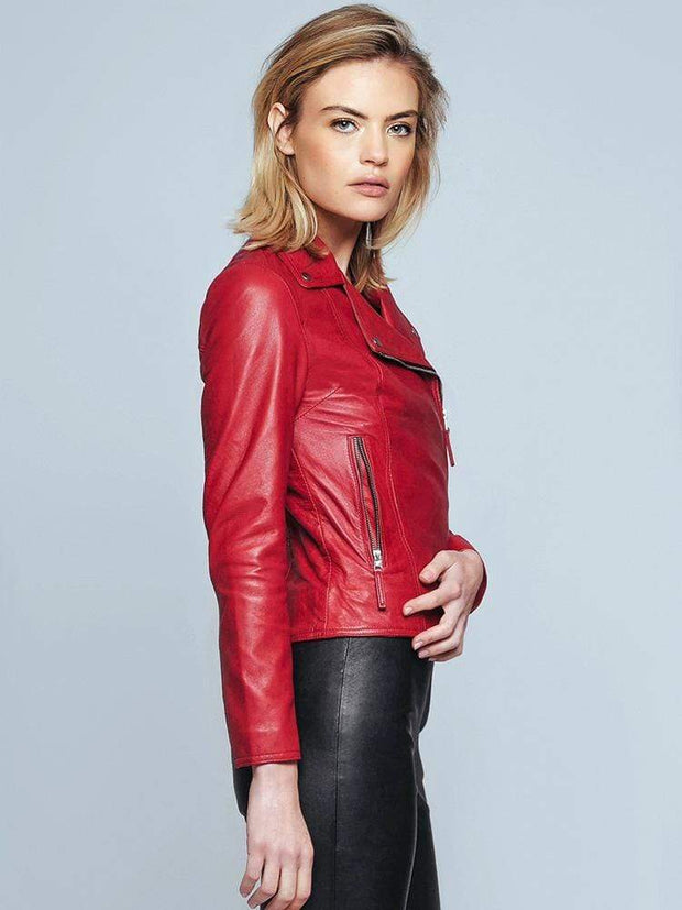 Sculpt Australia womens leather jacket Biker Style Red Leather Jacket