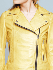 Sculpt Australia womens leather jacket Biker Style Yellow Leather Jacket