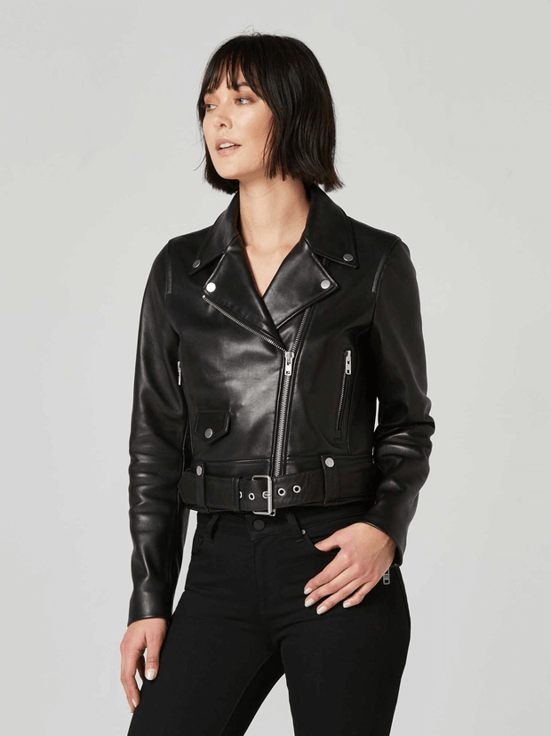 Sculpt Australia womens leather jacket Black Biker Leather Jacket