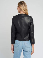 Sculpt Australia womens leather jacket Black Crew neck bomber leather jacket