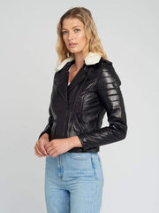 Sculpt Australia womens leather jacket Black Fur Collared Leather Jacket