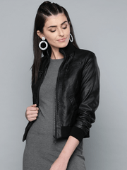 Sculpt Australia womens leather jacket Black Solid Bomber Leather Jacket